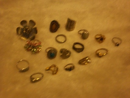 My ex girlfriends box of rings,one marked 14K with several diamond looking stones