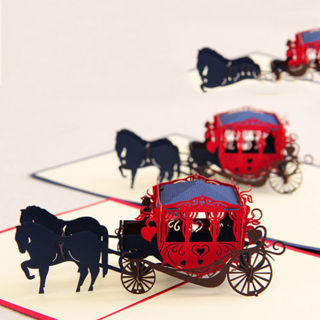 Christmas Birthday Valentine Greeting Card 3D Love Carriage Pop Up