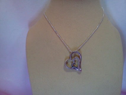 *~* Real Silver Heart Diamond Necklace *~*