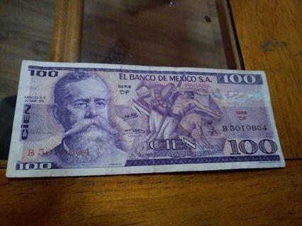 1974 Mexico 100 pesos