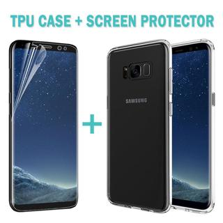 Galaxy S8 S9 Plus Case Friendly Full Screen Protector Film+TPU Cover For Samsung