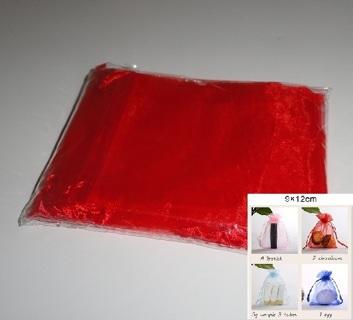Drawstring Organza Gift Bags (10ct, red) NIP