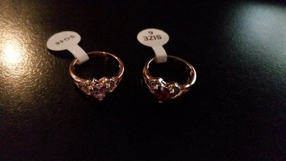 FREE NEW 2 GOLD SIZE 6 HEART RINGS WITH RED, WHITE & PINK RHINESTONES - DELICATE & FEMININE!
