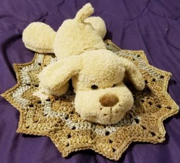 "Baby Security Cuddle Blankie 9"" Puppy Dog & a 12"" diam Crochet Blanket"