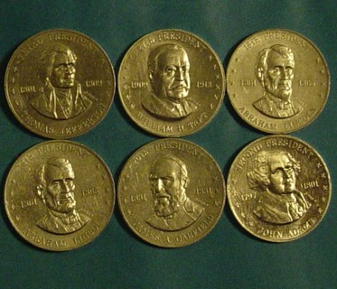 6 coins from the old SHELL OIL Presidential Coin Game.