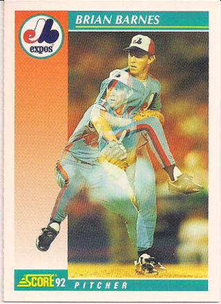 Free 715 Brian Barnespitcher Of Expos 1992 Score Baseball Trading