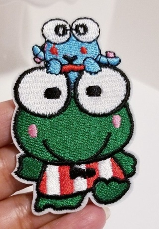 1 Frog Animal Embroidered cartoon patches iron on popular Motif hat bag shoe Applique