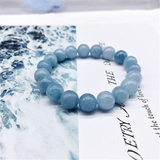 [GIN FOR FREE SHIPPING] Natural Blue Aquamarine Gemstone Beads Stretchy Bangle Bracelet
