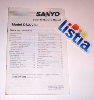 Free: Sanyo Color TV Owner's Manual Model DS27780 - TVs - Listia com