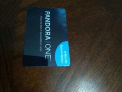 Pandora one 6 months free card