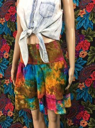 WOMEN'S COLORFUL MIDI SKIRT FLARED MULTICOLOR OS