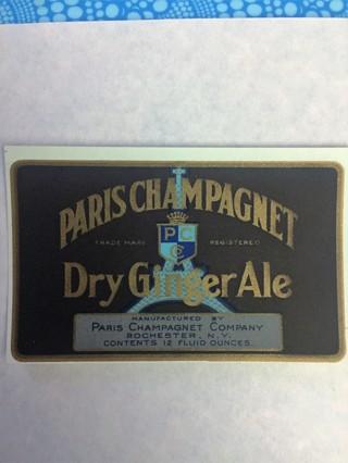"PARIS CHAMPAGNET DRY GINGER ALE VINTAGE PAPER LABEL EPHEMERA 2-5/8""x4-1/4"""
