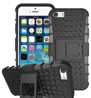 1 NEW iPHONE 6 PLUS Black HYBRID Case Scratch-Resistant Shock Absorbent Non Slip Tire Grip Stand