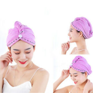 DI- KF_ Soft Microfiber Water Absorbent Quick Dry Wrap Hair Hat Bathing Shower T
