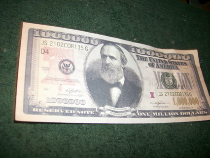 Free Novelty One Million Dollar Bill Real Looking Currency