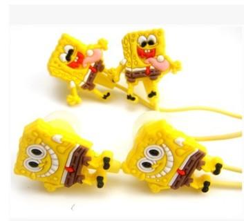 2014 New Cute 3.5 mm SpongeBob Cartoon Earphone Earbud Headphone Headset