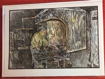 "THE BLACKSMITH - 5 x 7"" art card by artist Nina Struthers - GIN ONLY"