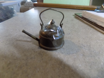 heavy brass over lead miniature tea kettle