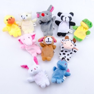 10PCs LEORX Soft Different Cartoon Animal Finger Puppets Velvet Dolls Props Toys