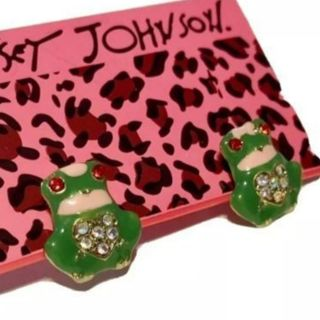 Betsey Johnson green Frogs earrings small studs Rhinestones New Free ship