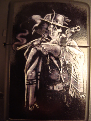 Free Zippo Lighter Too Cool Skeleton Cowboy with 2 guns and