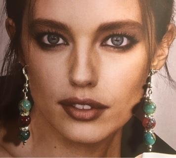 Cute Green & Multicolor Czech Crystal Glass Earrings