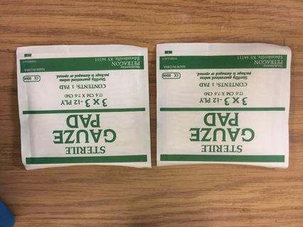 2 Small Sterile Gauze Pads