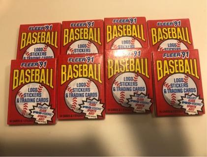 8 packs unopened 1991 Fleer Baseball Cards