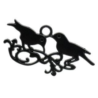Vintage Style Black Birds Charm Pendant