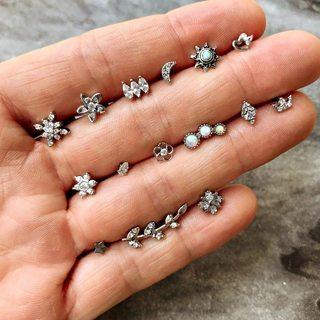 14 Pcs/set Bohemian Retro Crystal Moon Flower Love Heart Crown Leaves Sun Silver Earrings Set Women