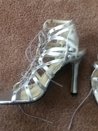 GIN FREE SHIP Silver Gladiator Heels Shoes