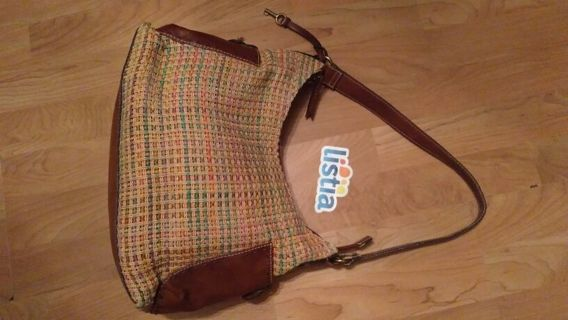 FOSSIL Multi*color Woven Straw w/Leather HOBO Shoulder Bag