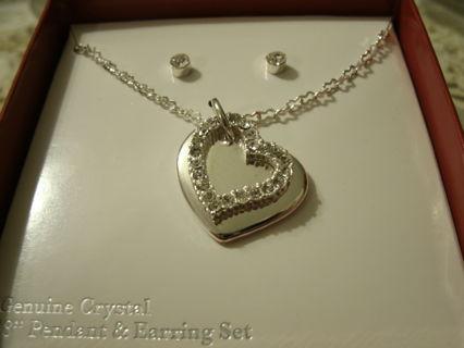 Genuine Crystal Pendant & Earring Set!!!