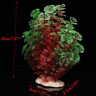 Aquarium Fish Tank Plastic Artificial Water Plant Tree Grass Ornament Red Green