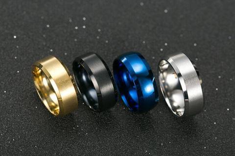 Stainless Steel 8mm Ring Men's Wedding Band Titanium Silver Black Gold Sz5-14