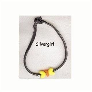 Black Leather Bracelet Yellow Butterfly