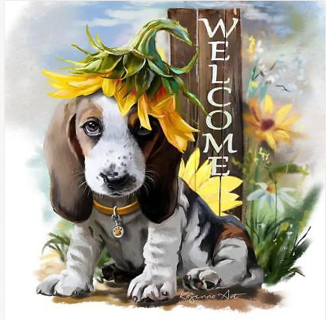 5D DIY Diamond Painting Welcome Dog Embroidery Cross Stitch Kit Mosaic