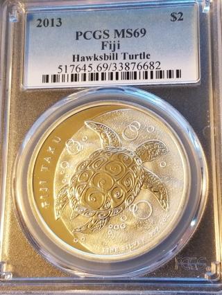 2013 $2 FIJI 1oz Silver PCGS MS69
