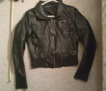 faux leather jacket soft cuffs