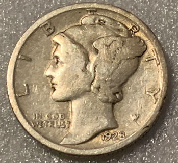 1928-P Mercury Dime - VG+/F 90% Silver Free Shipping With Five Items