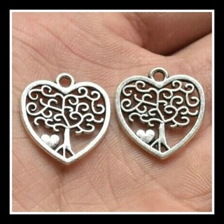 2 (TWO) pc Set! TREE of LIFE ❤ Heart-Shaped Tibetan Silver Charms Pendants, 18mm x 17mm, Brand NEW!