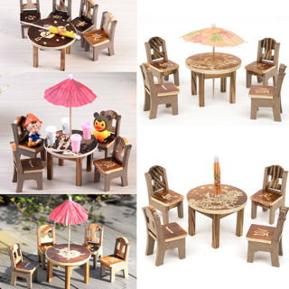 Miniature Furniture Garden Mini Dining Room Table & 4 Chairs Toys