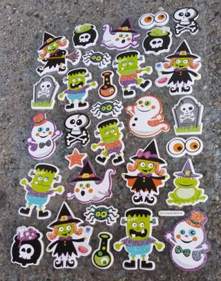 HALLOWEEN FOAM RUBBER GLITTER STICKERS LOT 1