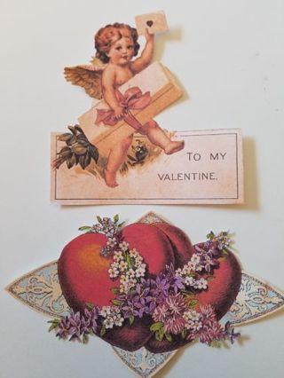 Vintage Valentine Cutouts, 2 pcs, #2818