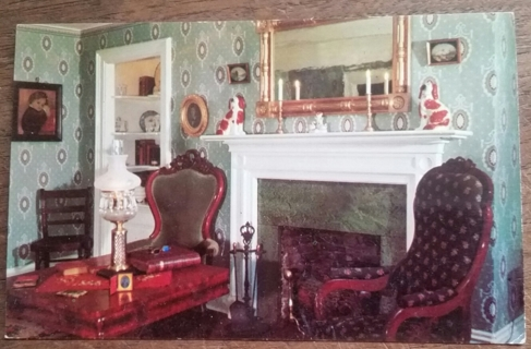 BECKY THATCHER HOUSE, ELEGANT PARLOR, HANNIBAL, MISSOURI - 1960'S   old unused postcard