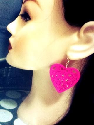 One Pair Of Wooden Heart Earrings