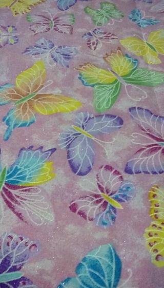 Fabric - BUTTERFLIES PINK GLITERY