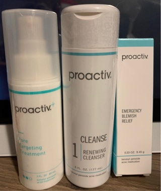 3 New Proactiv items, blemish relief, renewing cleanser, Pore targeting