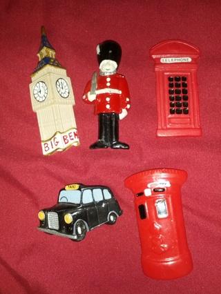 Big Ben London magnets 5 piece lot