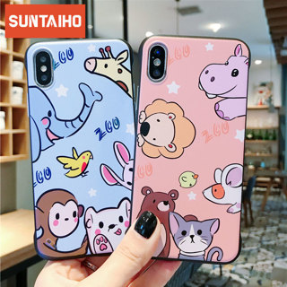 Cartoon fashion cute animal Phone Case for iPhone Xs Max XR X 7 8 6S 6Plus Case Fundas Borderless